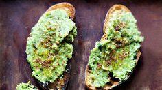 Toast with Lemony Pea Mash Recipe | Bon Appetit