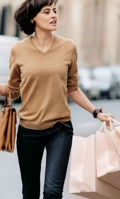 Like the camel sweater with the darker jeans