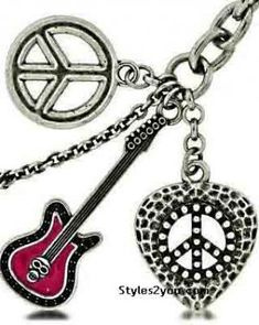 Heart, Guitar And Peace Sign Keychain
