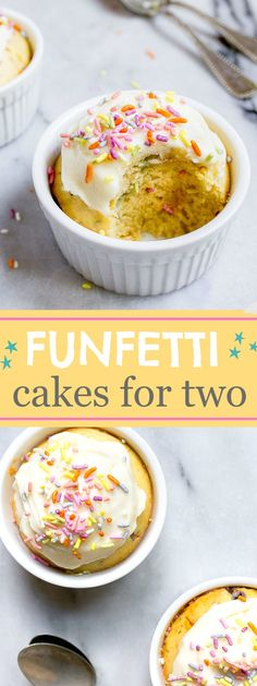 Funfetti cake FROM SCRATCH for two, made in ramekins to serve two! Homemade funfetti mini cakes for two are the BEST cakes. (funfetti mug cakes) Mini Desserts, Single Serve Desserts, Easy Desserts, Delicious Desserts, Yummy Food, Healthy Food, Single Serving Cake, Healthy Desserts, Mug Recipes