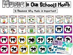 "I created this bulletin board for the month of March because it is ""Music in Our Schools Month"". This bulletin board words just like an advent calendar. Every day in the month of march you reveal a new reason why music is important. By the end of March you will have 31 reasons why music is important."