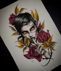 Image of Ochre Lukas Adams Tattoo Sketches, Tattoo Drawings, Tattoo Studio, Neo Tattoo, Tattoo Ink, Tatuagem New School, Catrina Tattoo, Girl Face Tattoo, Traditional Tattoo Flash