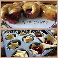 Crescent pie bites 21 oz any pie filling 2 8oz crescent rolls 2 tbsp milk 1/2 c powdered sugar -lay crescent rolls in muffin tins, put 1-2 tbsp pie filling in, and cover loosely. Bake at 375 for 12-15min. Mix sugar and milk, then drizzle glaze on top.