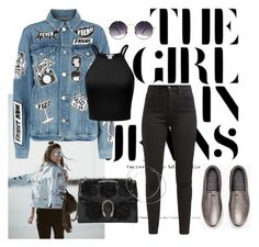 """""""Denim: Jean Jacket"""" by matousadiya ❤ liked on Polyvore featuring Frame, Levi's, Gucci, Brunello Cucinelli, Spitfire and denim"""