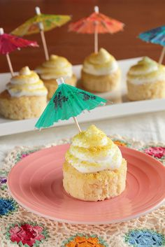 Piña Colada Cupcakes: Cute For A Beach or Pool Party - to keep this kid friendly, simply substitute the rum with coconut milk or pineapple juice