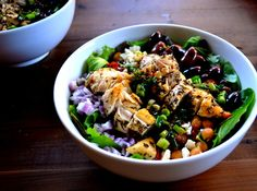 Mediterranean Salad with Herbed Chicken ~ a salad I might could try..