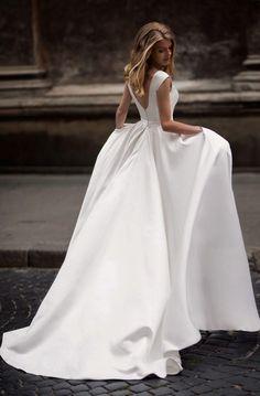 Popular 2018 Satin Wedding Dresses with Belt Scoop Neck Modest A-line Wedding Gowns for Brides #satin #aline #weddings #weddingdresses #elegant #modest #weddinggowns #bridaldress #bridalgowns #2018weddings #2018fashion #satinweddings #beach