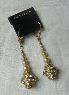 Vintage Rhinestone and Faux Pearl Dangle Earrings upgraded with New Gold Filled lever back ear wires for pierced ears. At AngelGrace on Etsy.