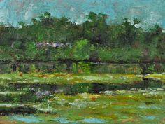 "Raymond Berry: Kanack's Pond, Mimosa Blooms, July 18, 2013, Encaustic on Panel, 9"" x 12"""