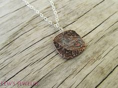 Little Blue BIrd Necklace in etched copper by lewsjewelry on Etsy, $30.00