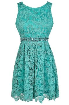 Embellished Story Rhinestone Lace A-Line Dress in Teal  www.lilyboutique.com
