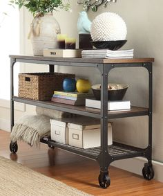 Take a look at this HomeBelle Bosworth Rustic Wheeled Sofa Table today!