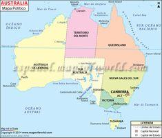 Australia Mapa muestra claramente las distintas divisiones importantes de Australia. También cuenta con los océanos, mares y estrecho que rodea a Australia. Las divisiones están separadas entre sí por colores diferentes. Australia se encuentra entre el sur del Océano Pacífico y el Océano Índico. Canberra es la capital de este continente.