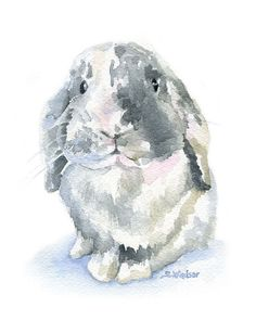 Gray Lop Rabbit watercolor giclée reproduction. Portrait/vertical orientation. Printed on fine art paper using archival pigment inks. This quality printing allows over 100 years of vivid color in a ty