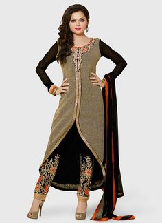 Black Georgette Drashti Dhami Straight Pant Suit