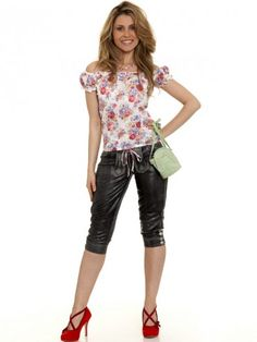 Carmenbluse Julie (weiss/rot) Lederhosen, Bermuda Shorts, Capri Pants, Red, Gowns, Women's, Capri Trousers, Leather Pants, Shorts