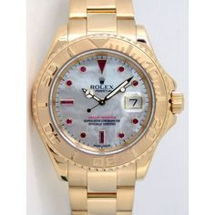 Rolex Yachtmaster Yellow Gold Mother of Pearl Ruby 16628