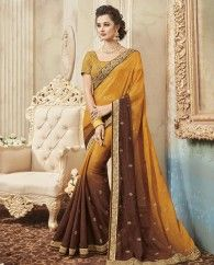 1. Mustard and brown georgette sari 2. Embellished with exclusive embroidery border with heavy hand work 3. Comes with a matching embroidered art silk unstitched blouse