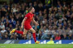 Liverpool's Jordan Henderson celebrates scoring his sides second goal during… Chelsea Fc News, Liverpool Premier League, Goals, Celebrities, Sports, Hs Sports, Celebs, Sport, Celebrity