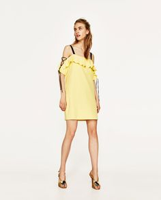 Image 1 of TWO-TONE DRESS WITH RIBBONS from Zara
