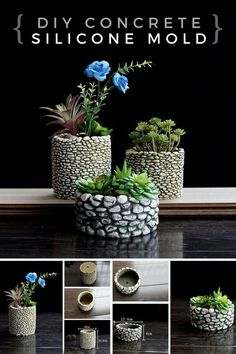 I love these pebble flower pots with the silicone mold i can make my own flower pot collection three sizes perfect for my room and garden too ad concrete mold flowerpot planter siliconemold pebble Nice and dark cement to contrast with the plants. Concrete Molds, Concrete Crafts, Concrete Planters, Diy Planters, Succulents Garden, Garden Pots, Garden Junk, Garden Stones, Glass Garden
