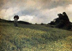 Antonin Personnaz, Femme dans un champ de fleurs, 1906 Autochrome