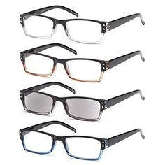 e2bbd17b472a Gamma Ray Optics GAMMA RAY Readers 4 Pack Spring Hinges Rectangular Reading  Glasses Includes Sun Readers for Men and Women - Choose Your Magnification
