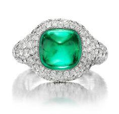 Cabochon Emerald and Diamond Ring  -  FD