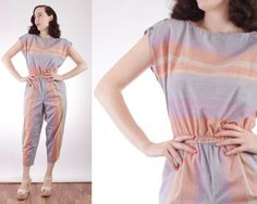 (SOLD) 80s Pastel Striped Jumpsuit with Pockets Size Medium by BGSvintage