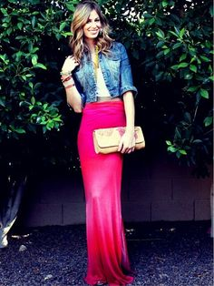 The maxi skirt/denim jacket combo is cute and wine tasting-friendly! ;)