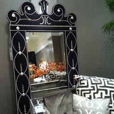 Black Velvet mirror with chrome nailhead design. Stunning. #HPMkt  Raymond Waites IH M101