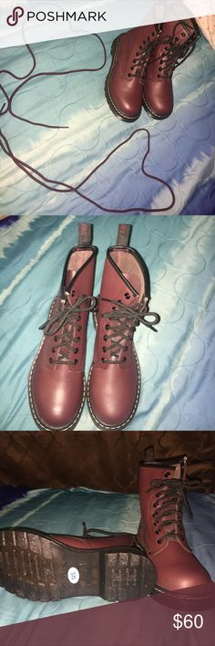 Burgundy Skechers Premium FootWear These are beautiful combat boots style shoes they're 100% new just got a size to big. They come with the extra pair of shoe laces as well. Never used and are waiting to be wore by you ! Shoes Combat & Moto Boots