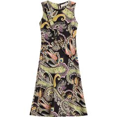 Etro Printed Silk Dress (€1.130) ❤ liked on Polyvore featuring dresses, multicolor, summer dresses, slimming dresses, zipper back dress, paisley print dress and tight dresses