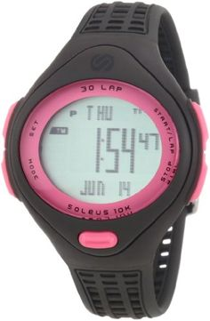 Soleus Women's SR007060P 10K Black and Pink 30 Lap Digital Sports Watch
