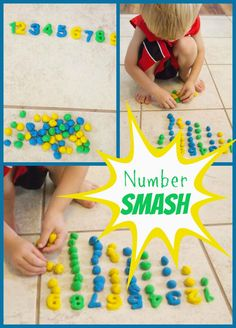 Life with Moore Babies: Playdough Number Smash Numbers Preschool, Learning Numbers, Math Numbers, Math For Kids, Fun Math, Maths, Preschool Learning Activities, Preschool Activities, Early Learning