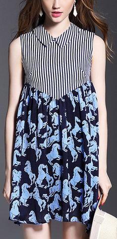 Horse & Stripe Print Silk Dress