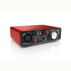 """Scarlett Solo Features:2 in / 2 out USB audio interface96 KHz, 24-bit conversion1 Focusrite microphone preamplifierRed anodised aluminium unibody chassisFront panel1 mic input – high quality XLR1 line/instrument input – high quality ¼"""" TRS Jack1 Line/Instrument switches2 Gain knobs2 Gain halo signal indicators48V Phantom power switchDirect monitor switchLarge monitor / headphone level dialUSB Connection LED indicatorHeadphone output - ¼"""" TRS JackRear panel2 monitor outputs – RCA PhonoU"""