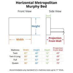 Horizontal Murphy bed dimensions.