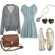 long cardigan and converse