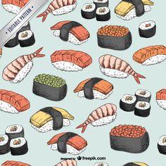 Sushi pattern Free Vector