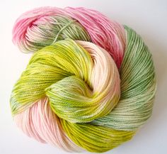 Fingering Weight, Hand Painted Yarn, Sock Yarn, Superwash Merino Wool, Green Pink Yellow by IriaYarnCompany on Etsy
