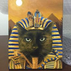 This custom pet painting of a cat as a Pharaoh reflects the grace and poise of the feline and takes the tomb of Tutankhamun for visual inspiration Paintings Famous, Famous Artwork, Animal Paintings, Egyptian Queen, Abyssinian, Cool Pets, Images Gif, Cat Art, Pet Portraits