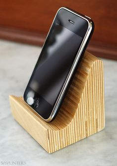 iPhone speaker dock in Baltic Birch Plywood. $15.00, via Etsy.