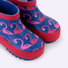Pink Blue Poco Nido Flamingos Wellies