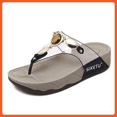 9643c16b5be4 D2C Beauty Women s Bohemian Rhinestone Flip Flops Thong Sandals - Black 9.5  M US - Sandals