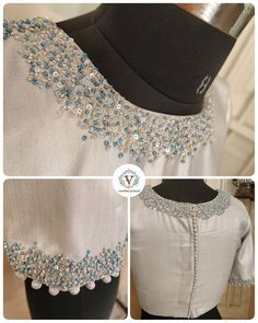 This beauty is designed to pair with a powder blue plain linen saree. Stunning pearl white color designer blouse with hand embroidery work on neckline. White Blouse Designs, Silk Saree Blouse Designs, Saree Blouse Patterns, Designer Blouse Patterns, Blouse Neck Designs, Blouse Styles, Neckline Designs, Hand Embroidery Dress, Kurti Embroidery Design