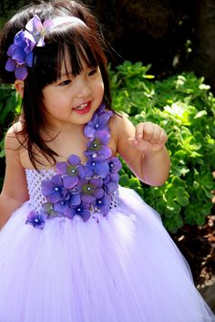 #GB Lavender with Lavender Jeweled Hydrangea Flower Tutu Dress by PoshBabyStore.com
