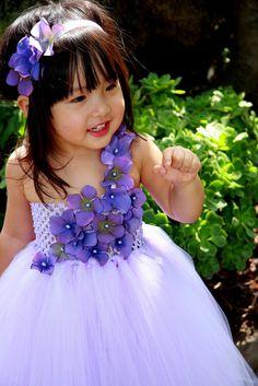 #GB Lavender with Lavender Jeweled Hydrangea Flower Tutu Dress by PoshBabyStore.com