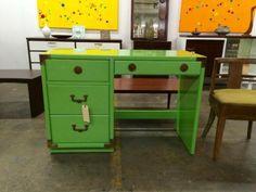 "Pearlised Desk   Dealer #9145  43"" Wide x 19"" Deep x 29"" High   $1100  Lucas Street Antiques Mall 2023 Lucas Dr.  Dallas, TX 75219  Like us on Facebook: https://www.facebook.com/lucasstree"