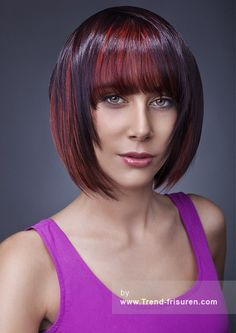 THE ART OF HAIR Mittel Braun weiblich Gerade Farbige Multi-tonalen Reds Bob Frisuren Choppy hairstyles